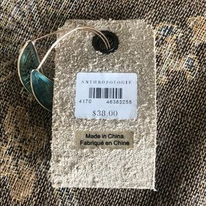 Anthropologie Jewelry - Gold hoop earrings with green stone